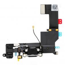 Flex Cable com conector de carga, dados e acessórios, conector jack de 3,5, microfone e cabo RF iPhone 5S Preto